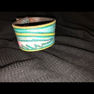 "Jewelry - Hand made leather/painted cuff. 7.5"" in length"